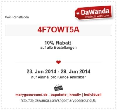 Rabattcode DaWanda 2014-06-23 bis 06-29 | marygoesround.de